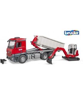 Camion Mercedes-Benz Arocs Cu Container Abroll & Excavator Schaeff