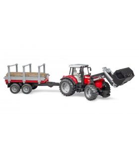 Tractor Massey Ferguson 7480 Cu Incarcator Frontal, Remorca Si 3 Busteni