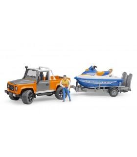 Land Rover Defender Cu Remorca, Figurina Si Ski Jet
