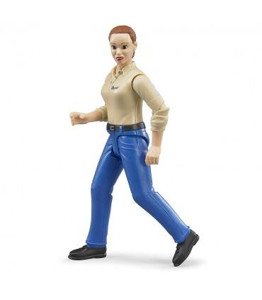 Femeie Cu Camasa Bej Si Pantaloni Albastri