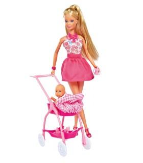 Steffi In Rochita Roz Si Cu Carucior Bebe