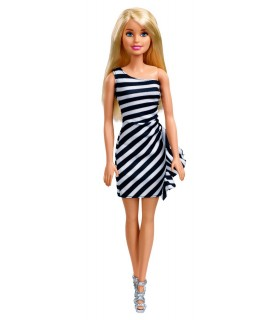 Barbie Tinute Stralucitoare Blonda Cu Rochita Alb-Negru
