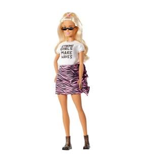 Barbie Fashionista Blonda Cu Tricou Chic Alb