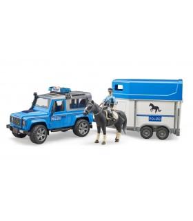 Land Rover Defender Cu Remorca Pentru Cai, 1 Cal Si Politist
