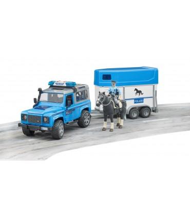 Masina De Politie Land Rover Cu Remorca Transport Cai Si Figurina Politist Pe Cal