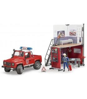 Statie De Pompieri Bworld Cu Land Rover Defender, Pompier Si Accesorii