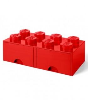 Cutie Depozitare LEGO 2X4 Cu Sertare, Rosu