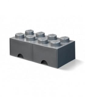 Cutie Depozitare LEGO 2X4 Cu Sertare, Gri Inchis