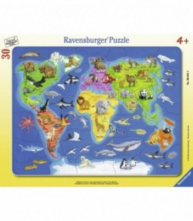Harta Lumii Cu Animale, 30 Piese