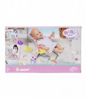 Set Plaja - Umbrela Cu Scaun Si Accesorii Baby Born, 43 cm