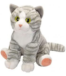 Pisica Vargata Gri/Alb, 30 cm