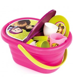 Cos Picnic Masha And The Bear Si Set Vesela Cu 21 Accesorii
